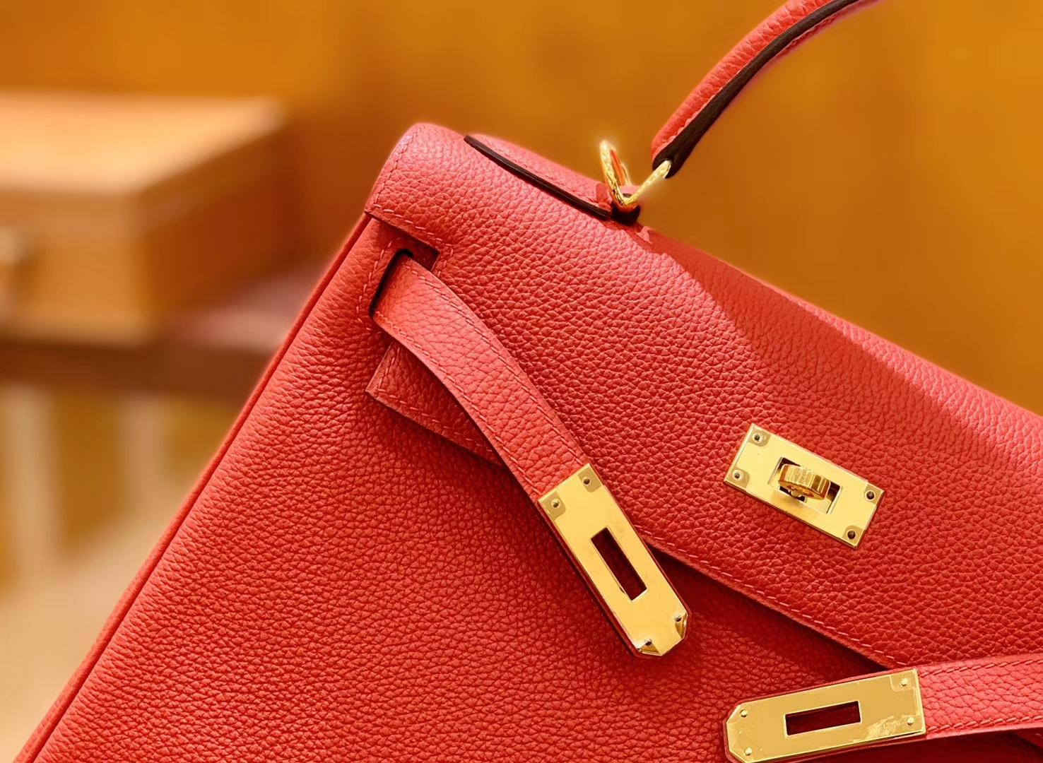 Hermès(爱马仕)Kelly 28cm 蕃茄红 金扣 Togo牛皮 全手工缝制 现货