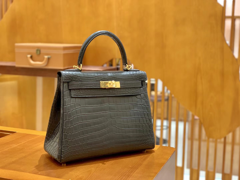 Hermès(爱马仕)Kelly 28cm 铁灰色 金扣 进口 哑光尼罗鳄鱼皮 全手工缝制
