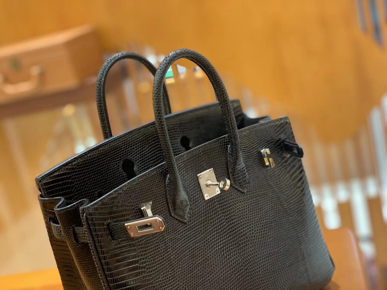 Hermès(爱马仕)Birkin 铂金包 经典黑 蜥蜴皮 银扣 25cm