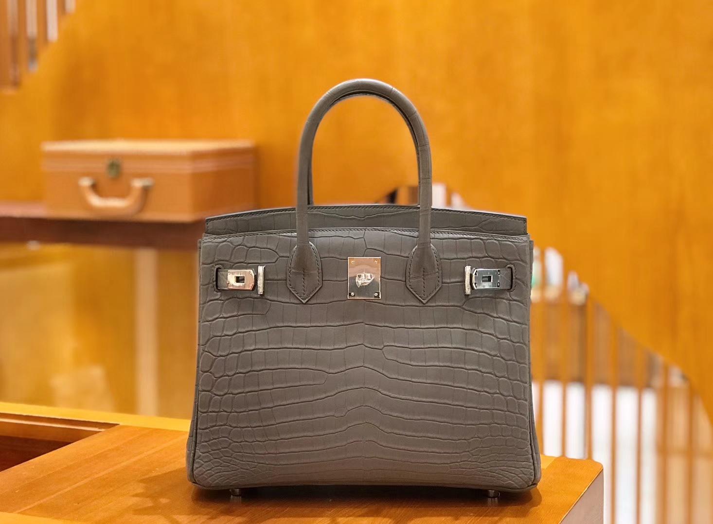 Hermès(爱马仕)Birkin 铂金包 尼罗鳄鱼皮 锡器灰 30cm