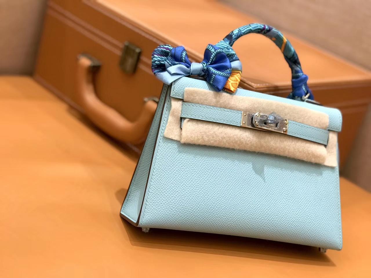 Hermès(爱马仕)mini Kelly 马卡龙 银扣 德国进口掌纹皮 全手工缝制