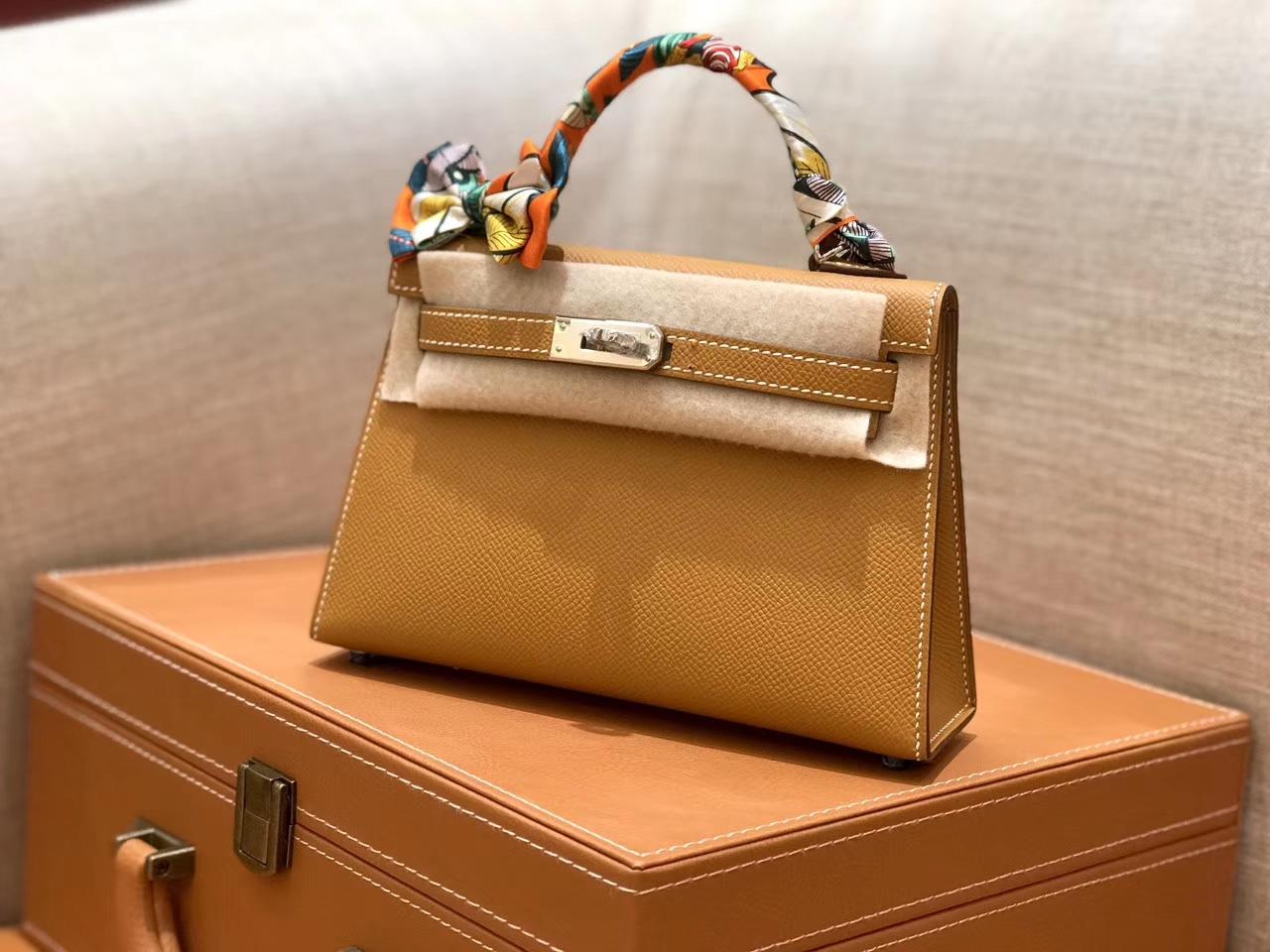 Hermès(爱马仕)mini Kelly 金棕色 银扣 德国进口掌纹皮 全手工缝制