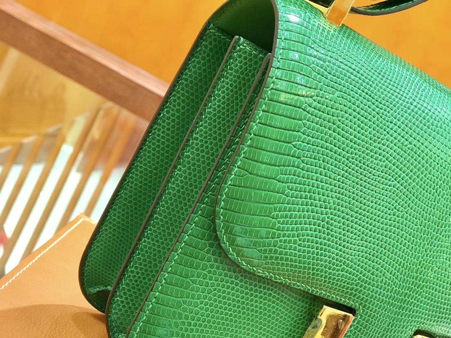 Hermès(爱马仕)Constance 空姐包 蜥蜴皮 仙人掌绿 24cm