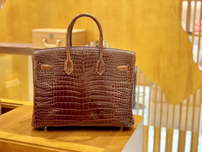 Hermès(爱马仕)Birkin 铂金包 咖啡色 亮面湾鳄 银扣 35cm