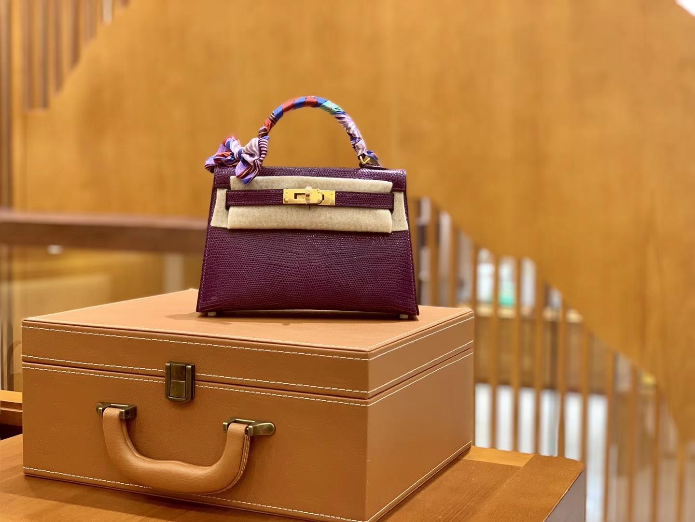 Hermès(爱马仕)MiniKelly 迷你凯莉 蜥蜴皮 水晶紫 2代 19cm