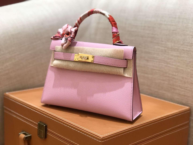 Hermès(爱马仕)mini Kelly 锦葵紫 金扣 德国进口掌纹皮 全手工缝制