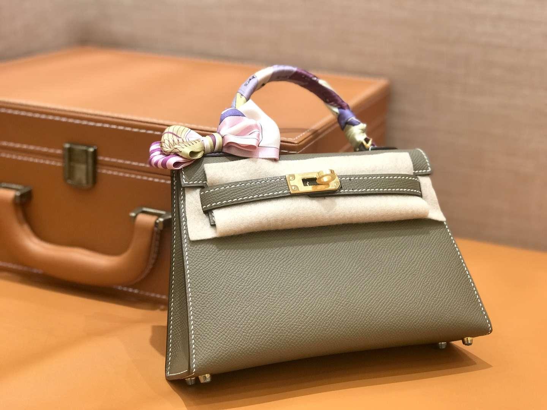 Hermès(爱马仕)mini Kelly 大象灰 金扣 德国进口掌纹皮 全手工缝制