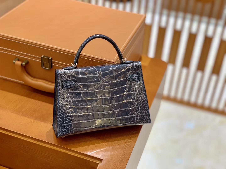 Hermès(爱马仕)迷你2代 19cm 牛仔蓝 雾面鳄鱼皮 珍贵方块印