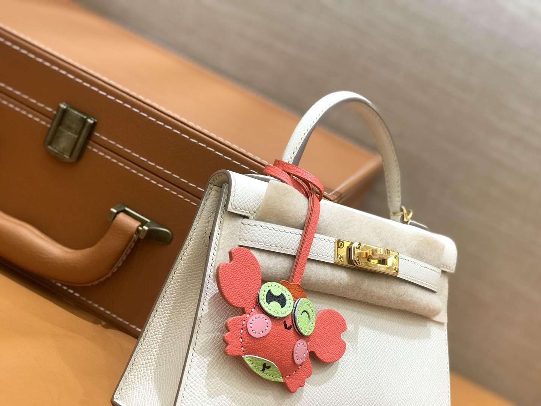 Hermès(爱马仕)mini Kelly 奶昔白 金扣 德国进口掌纹皮 全手工缝制