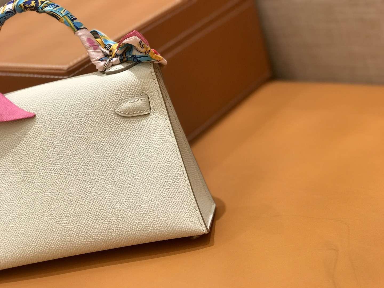 Hermès(爱马仕)mini Kelly 奶昔白 银扣 德国进口掌纹皮 全手工缝制