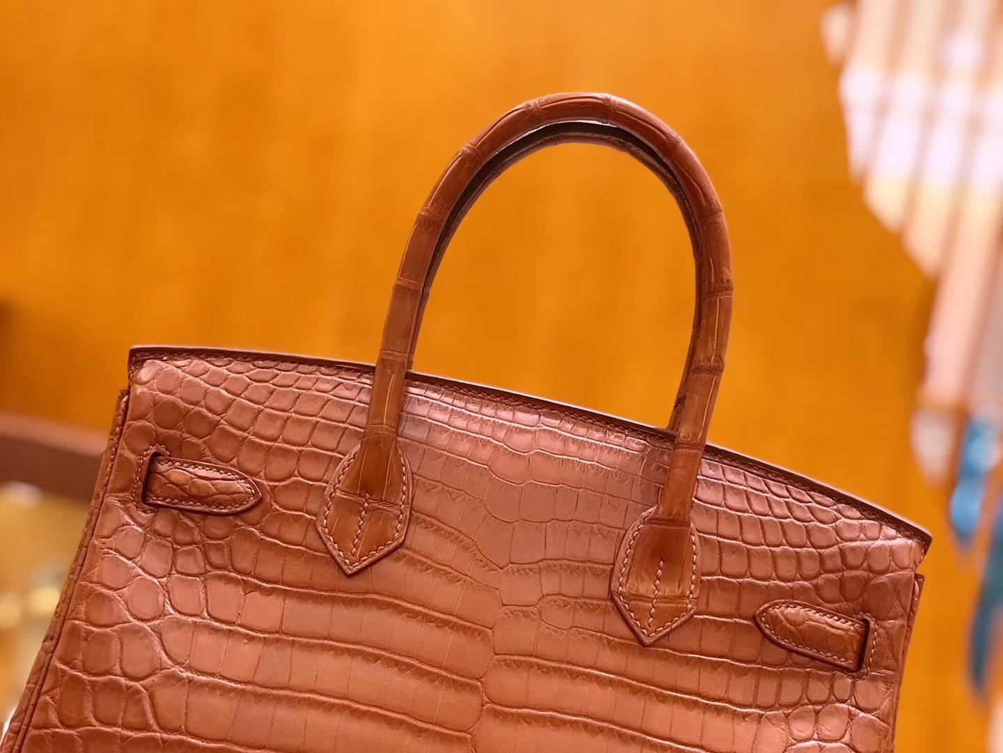 Hermès(爱马仕)Birkin 铂金包 尼罗鳄鱼皮 蜜糖棕 30cm