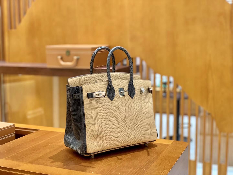 Hermès(爱马仕)Birkin 铂金包 锡器灰拼杏色 蜥蜴皮 银扣 25cm