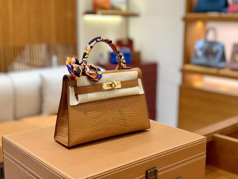 Hermès(爱马仕)迷你2代 19cm 太妃金 美洲雾面鳄鱼皮 珍贵方块印
