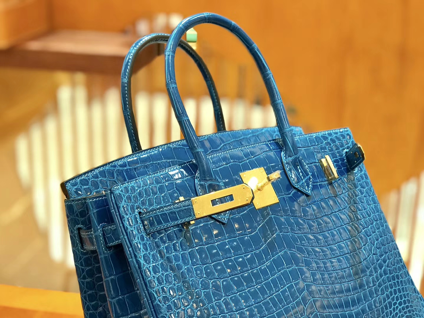 Hermès(爱马仕)Birkin 铂金包 倒V 伊滋密尔蓝 湾鳄 25cm