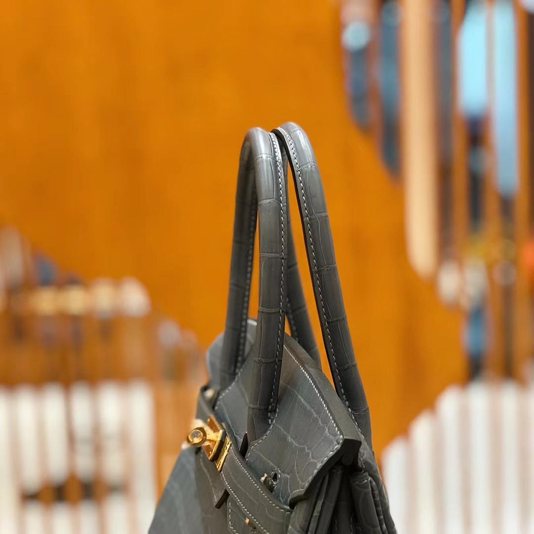 Hermès(爱马仕)Birkin 铂金包 尼罗鳄鱼皮 铁灰色 30cm