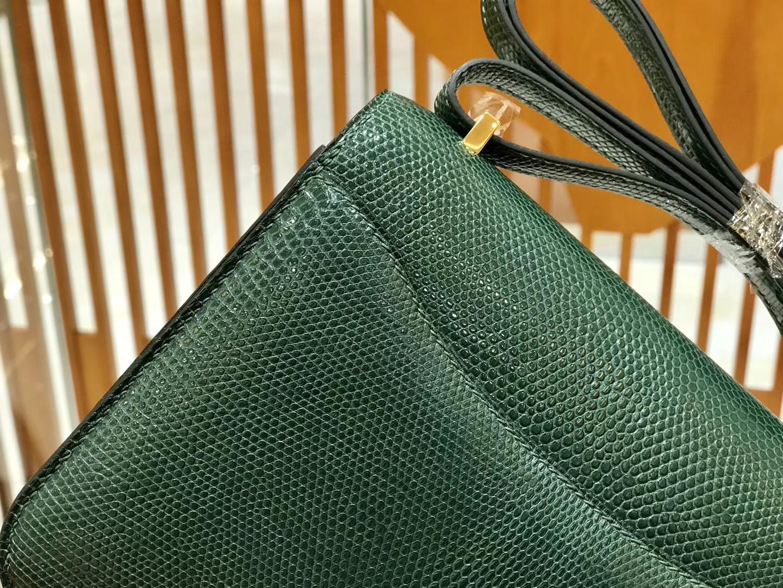 Hermès(爱马仕)Constance 空姐包 蜥蜴皮 孔雀绿 18cm