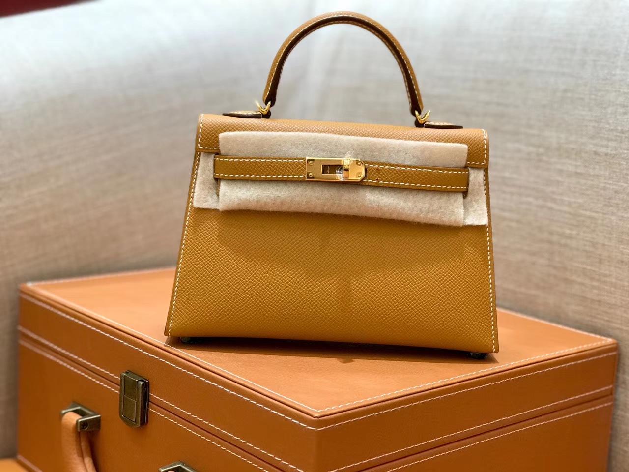 Hermès(爱马仕)mini Kelly 金棕色 金扣 德国进口掌纹皮 全手工缝制