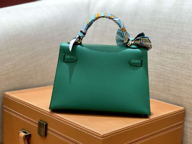 Hermès(爱马仕)mini Kelly 森林绿 金扣 德国进口掌纹皮 全手工缝制