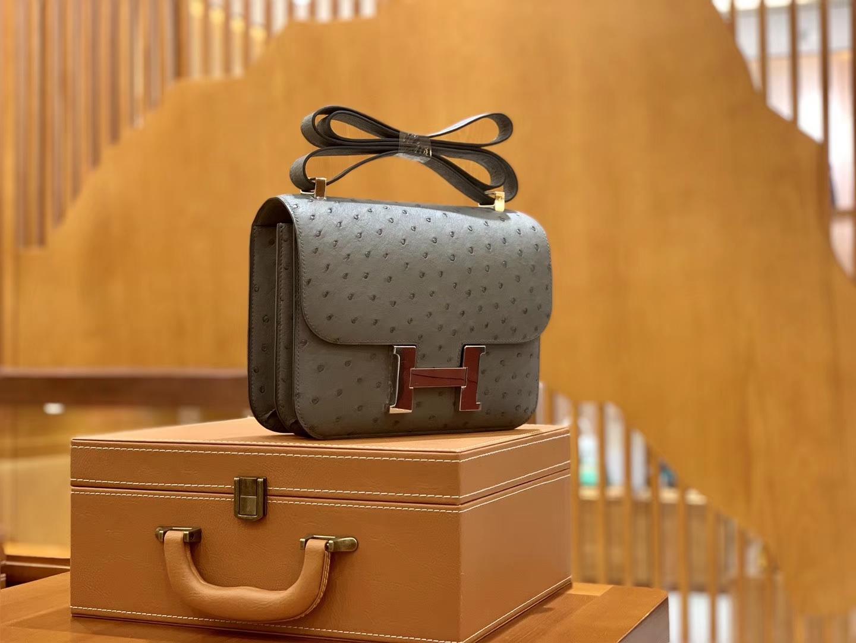 Hermès(爱马仕)Constance 空姐包 沥青灰 南非进口鸵鸟皮 24cm 现货