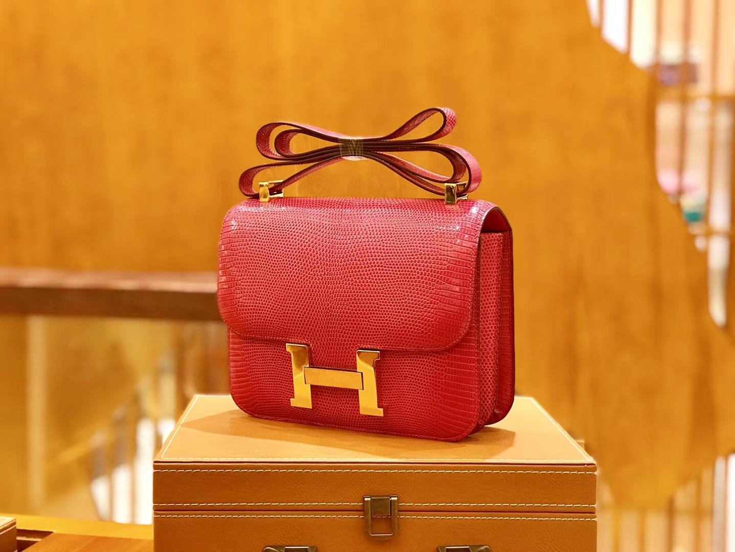 Hermès(爱马仕)Constance 空姐包 蜥蜴皮 桃红色 极致粉 24cm