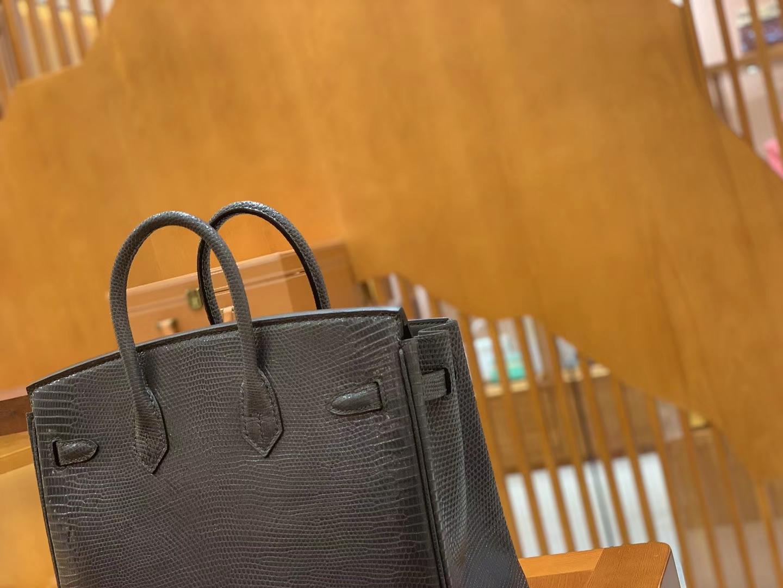 Hermès(爱马仕)Birkin 铂金包 锡器灰 蜥蜴皮 银扣 25cm