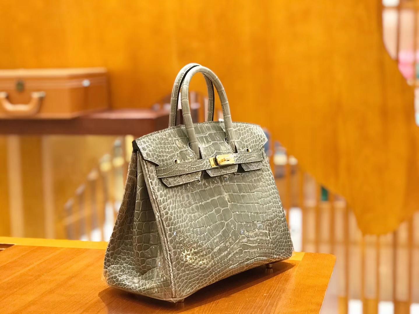 Hermès(爱马仕)Birkin 铂金包 斑鸠灰 美洲 方块印 25cm