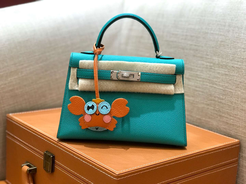 Hermès(爱马仕)mini Kelly 维罗纳绿 银扣 德国进口掌纹皮 全手工缝制