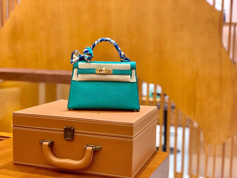 Hermès(爱马仕)MiniKelly 迷你凯莉 蜥蜴皮 维罗纳绿 2代 19cm