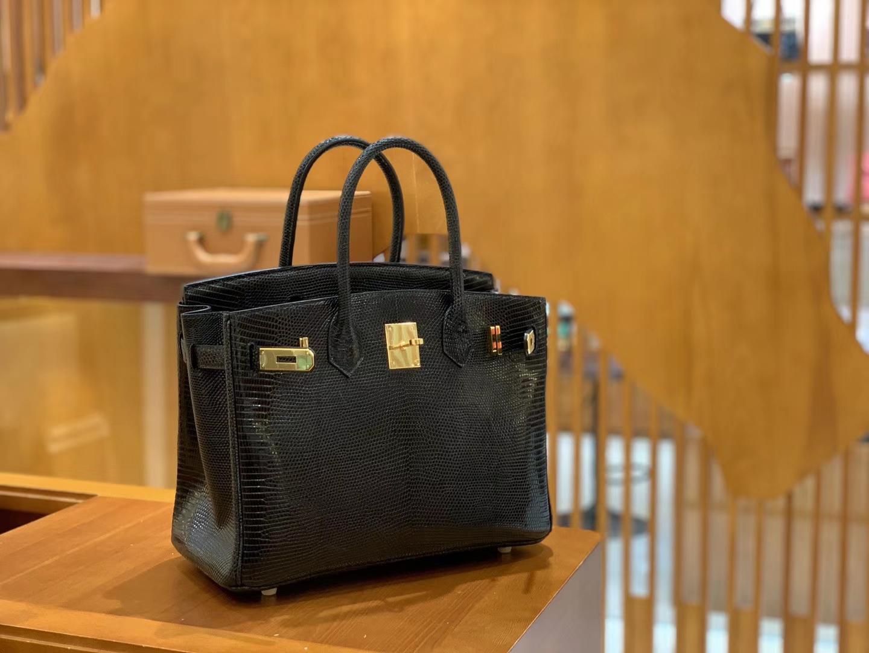 Hermès(爱马仕)Birkin 铂金包 经典黑 蜥蜴皮 金扣 30cm
