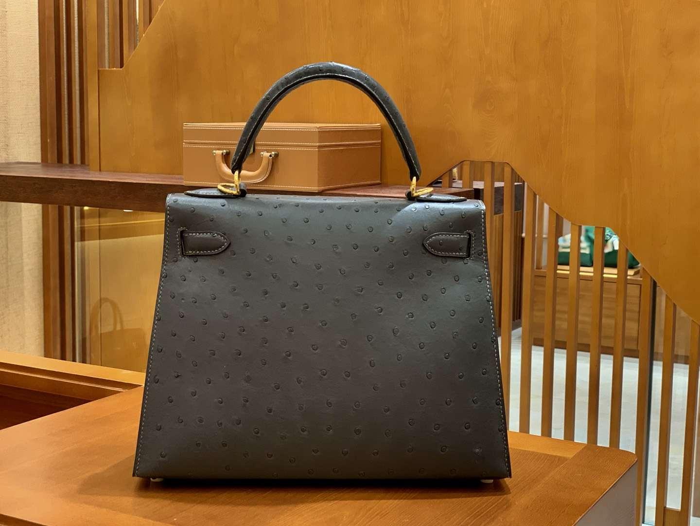 Hermès(爱马仕)Kelly 28cm 锡器灰 金扣 南非进口 鸵鸟皮 全手工缝制