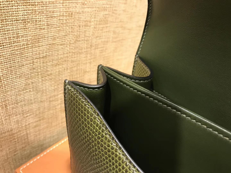 Hermès(爱马仕)Constance 空姐包 蜥蜴皮 橄榄绿 银扣 24cm