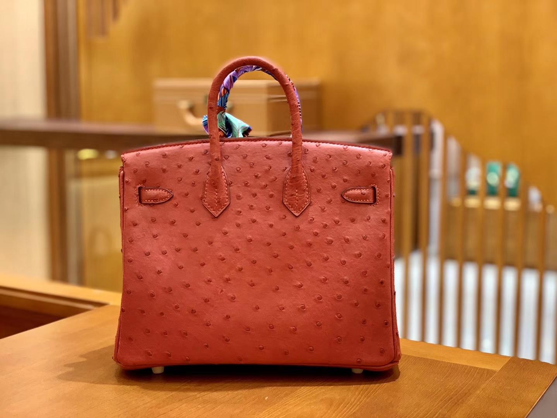 Hermès(爱马仕)Birkin 30 鸵鸟皮  中国红 金扣 全手工缝制