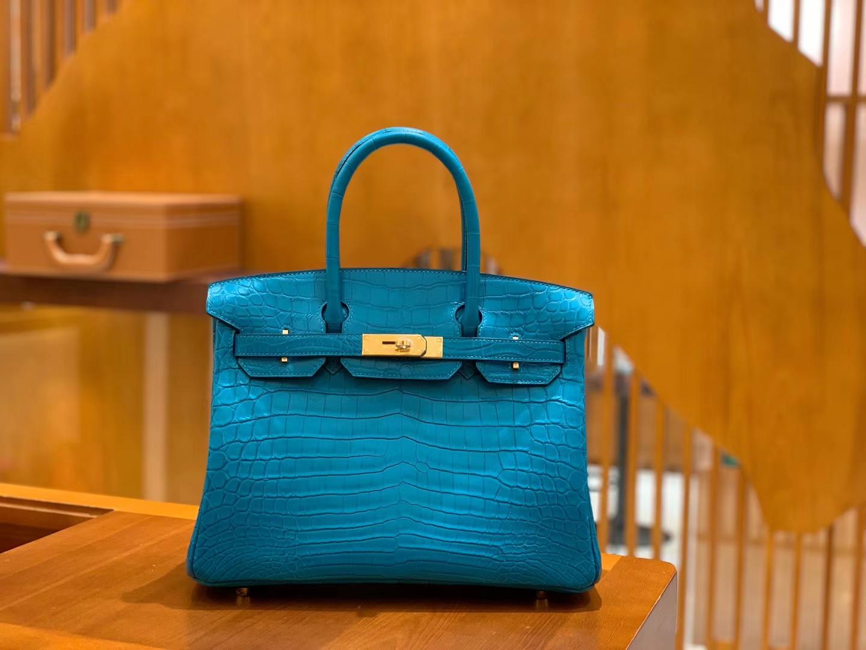 Hermès(爱马仕)Birkin 30cm 伊滋密迩蓝 金扣 尼罗 雾面 两点 鳄鱼皮 全手工