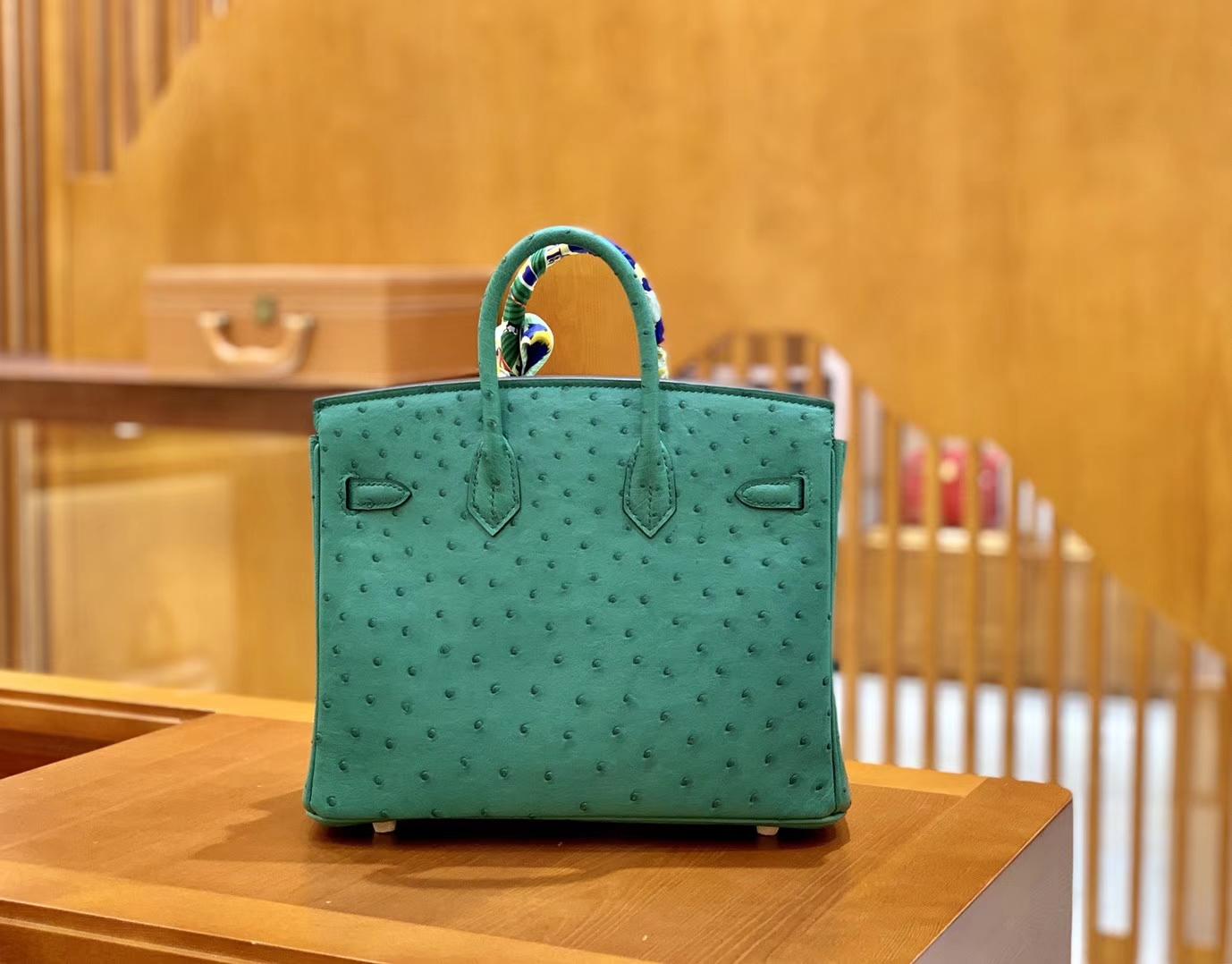 Hermès(爱马仕)Birkin 30 鸵鸟皮  湖水绿 金扣 全手工缝制