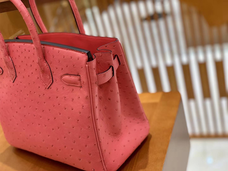 Hermès(爱马仕)Birkin 30 鸵鸟皮  桃粉色 银扣 全手工缝制