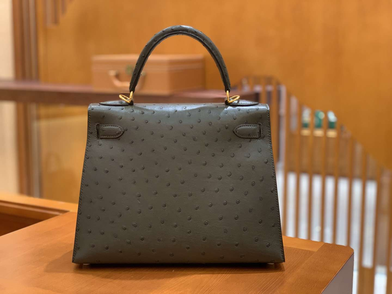 Hermès(爱马仕)Kelly 28cm 经典黑 金扣 南非进口 鸵鸟皮 全手工缝制