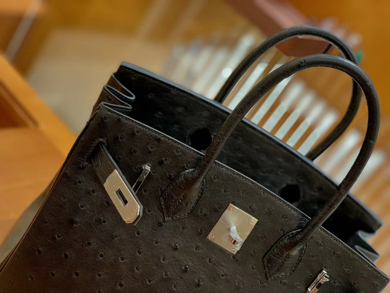 Hermès(爱马仕)Birkin 30 鸵鸟皮  经典黑 银扣 全手工缝制