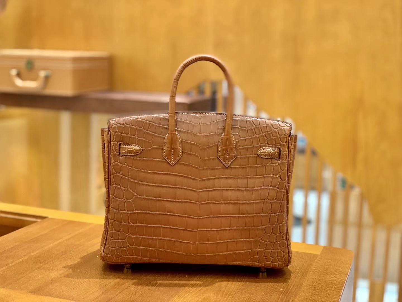 Hermès(爱马仕)Birkin 25cm 蜜糖棕 金扣 尼罗 雾面 鳄鱼皮 全手工