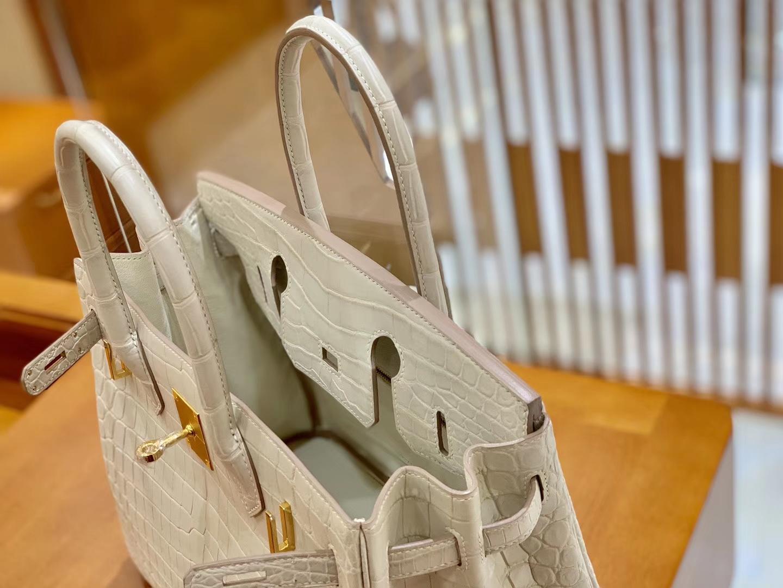 Hermès(爱马仕)Birkin 铂金包 羊毛白 一级皮 尼罗鳄鱼皮 臻品级别 金扣 30cm