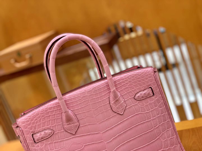 Hermès(爱马仕)Birkin 30cm 樱花粉 金扣 尼罗 两点 鳄鱼皮