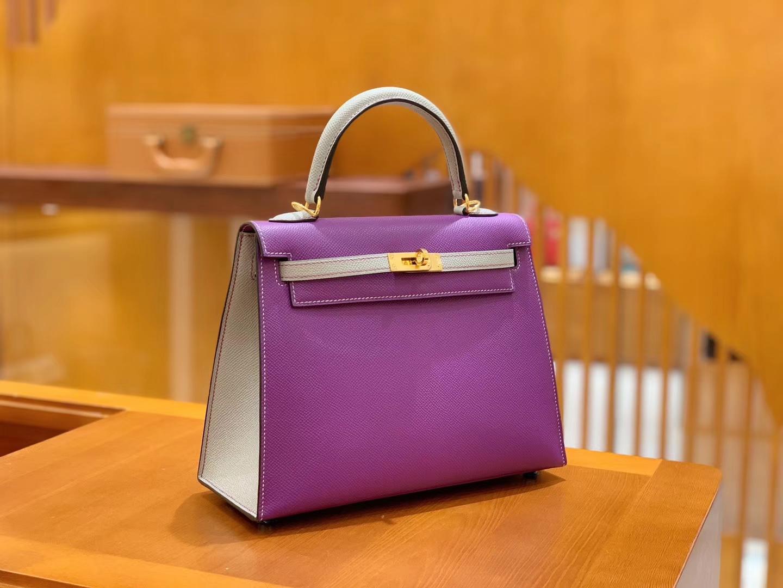 Hermès(爱马仕)Kelly 凯莉包 拼色系列 紫色拼浅灰色 25cm