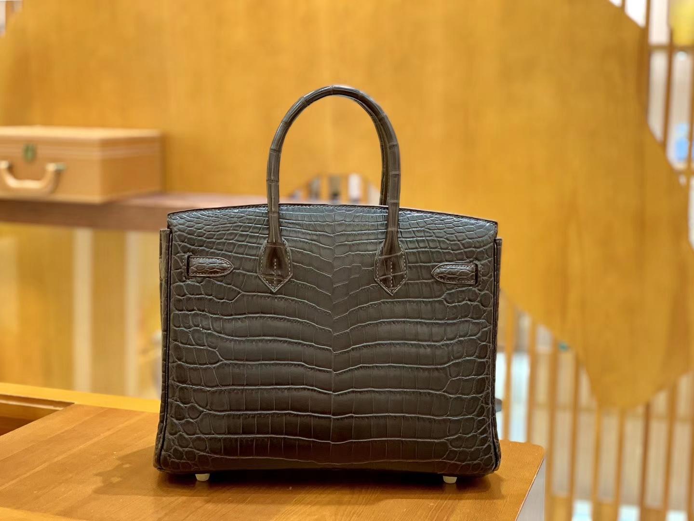 Hermès(爱马仕)Birkin 30cm 摩卡 金扣 尼罗 雾面 两点 鳄鱼皮 全手工