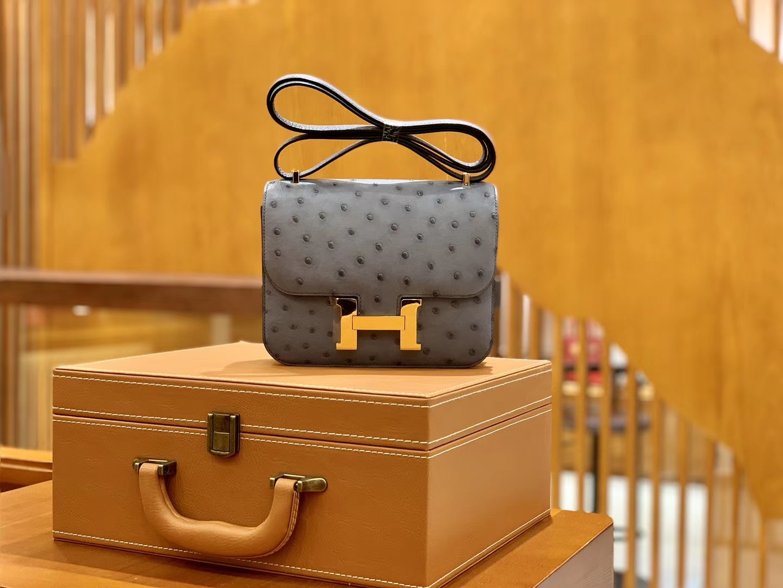 Hermès(爱马仕)Constance 空姐包 锡器灰 银扣 南非进K鸵鸟皮 全手工缝制 18cm