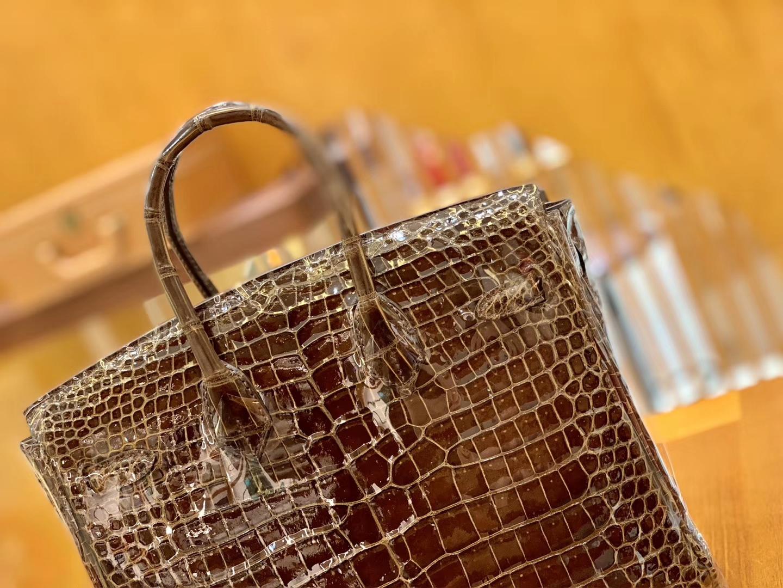 Hermès(爱马仕)Birkin 30cm 咖啡色 金扣 一级皮 尼罗鳄鱼皮 臻品级别