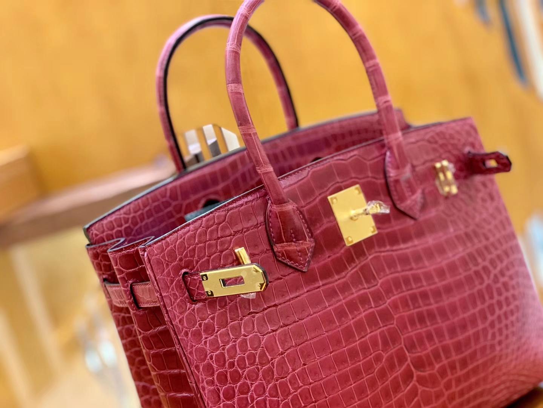 Hermès(爱马仕)Birkin 30cm 石榴红 金扣 尼罗 雾面 两点 鳄鱼皮 全手工