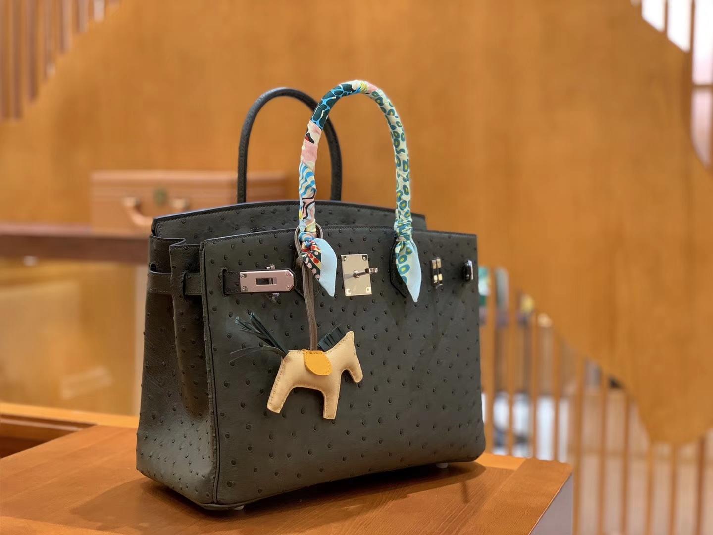 Hermès(爱马仕)Birkin 30 鸵鸟皮 锡器灰 全手工缝制