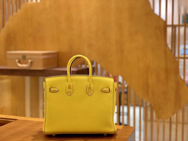 Hermès(爱马仕)Birkin 铂金包 琥珀黄 Touch 牛皮拼鳄鱼皮 金扣 25cm