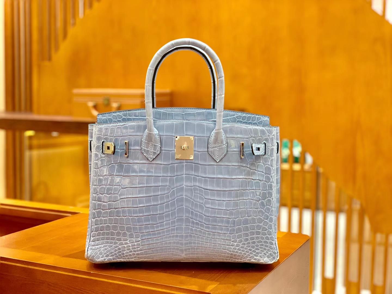 Hermès(爱马仕)Birkin 30cm 浅水蓝 金扣 一级皮 尼罗鳄鱼皮 臻品级别