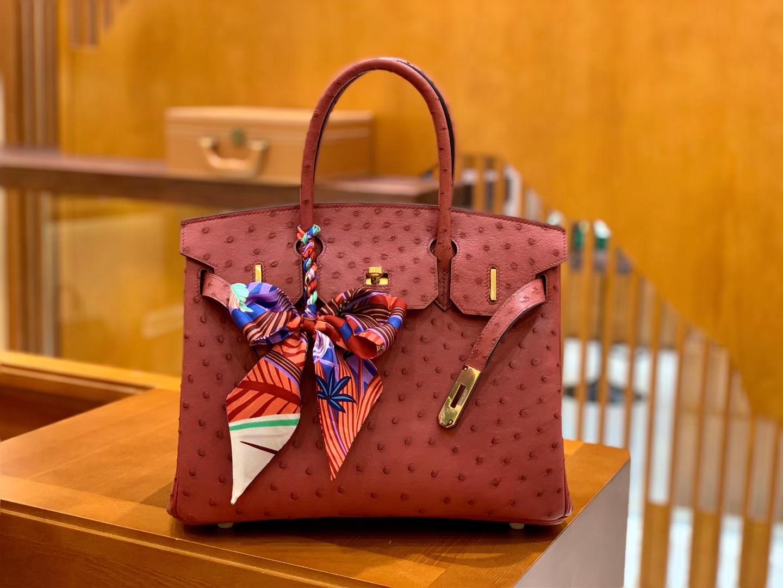 Hermès(爱马仕)Birkin 30 鸵鸟皮  枣红色 金扣 全手工缝制