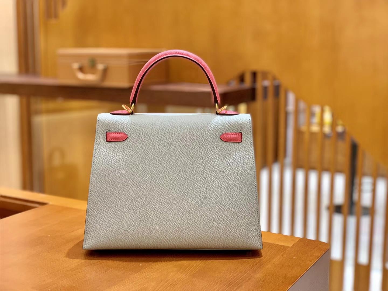 Hermès(爱马仕)Kelly 凯莉包 拼色系列 斑鸠灰拼唇膏粉 25cm